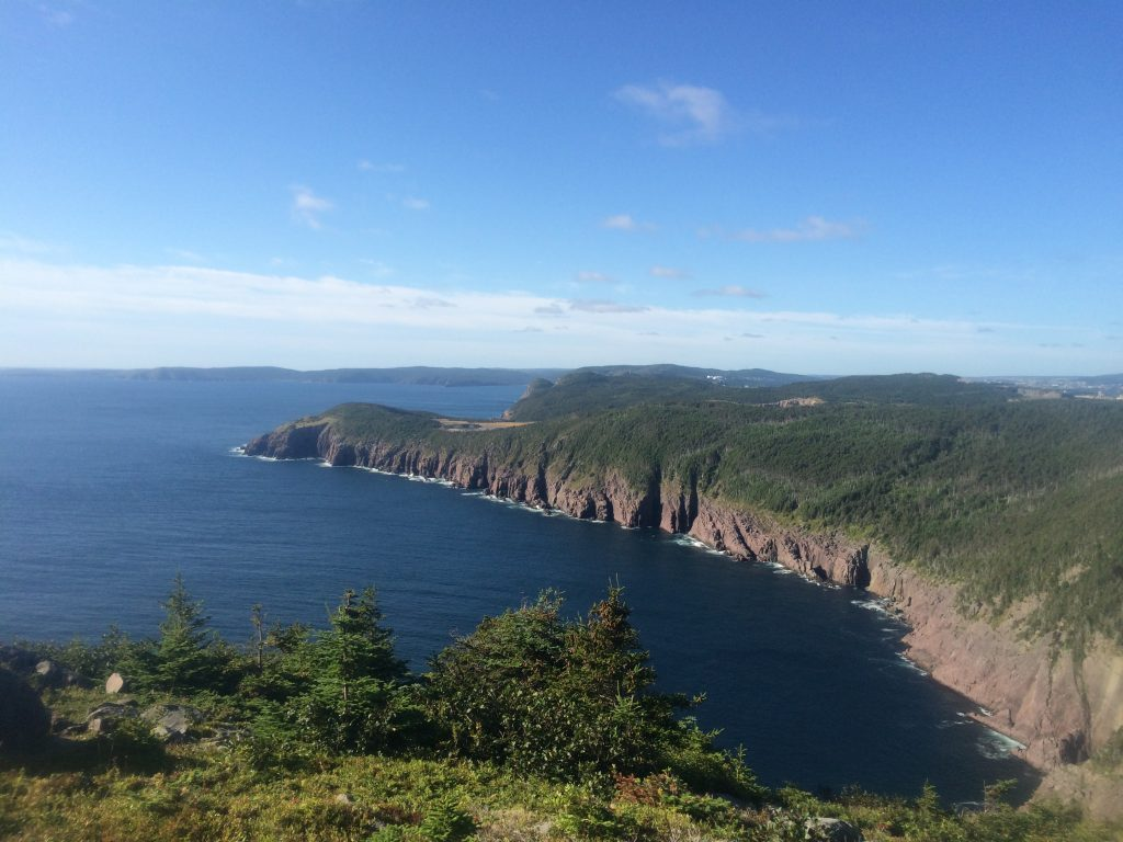 View of rugged coast line of east coast trail near Logy Bay